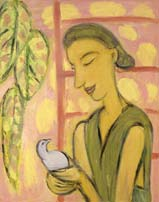Young woman with a bird. 1994. 100x80 |canvas.oil|