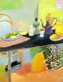 Lemons on the table. 1998. 116x89 |canvas.oil|