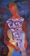 Mariana with girls. 1985. 100x55 |canvas.oil|