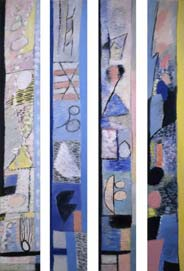Journey along the coast /series of 4 canvas/. 2001. 190x25
